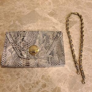 Elliott Luca snakeskin  clutch and shoulder bag